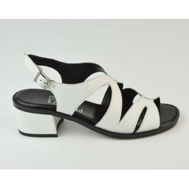 Sandales Cuir Craquelé Blanc, 3218, Plumers