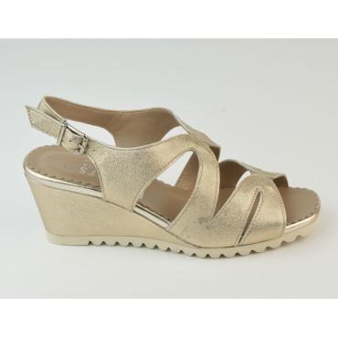 Sandales Compensées, Cuir Luisant Or, 3234, Plumers