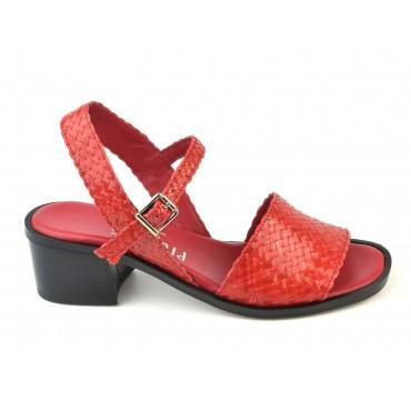 Sandales Cuir Tressé Rouge, 3212, Plumers