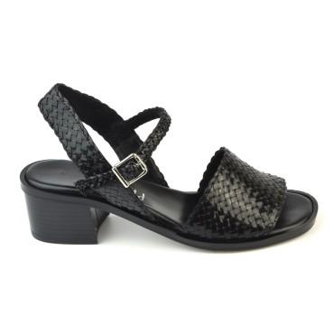 Sandales Cuir Tressé Noir, 3212, Plumers