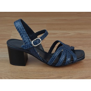 Sandales Cuir Tressé Bleu Irisé, 3247, Plumers