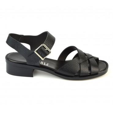 Sandales Cuir Craquelé Noir, 3214, Plumers