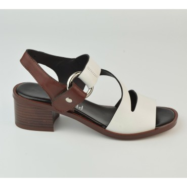 Sandales Cuir Lisse Blanc et Marron, 3190, Plumers