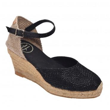 Sandales Compensées Cuir Pailleté Noir, Capri-5 Toni Pons