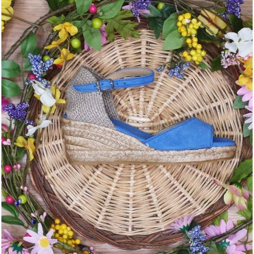 Espadrilles Compensées , Cuir Suédine Bleu Azul, Llivia-A, Toni Pons