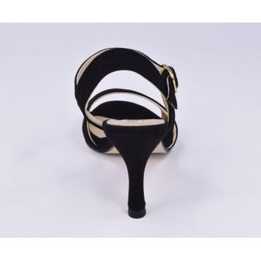 Escarpins plateforme, cuir daim, noir, 9669, Maria Jamy