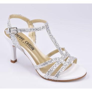 Sandales Cuir Glitter Blanc, Aposto, Pierre Cardin