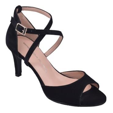 Sandales Coque cuir suédine Noir, T3968, Brenda Zaro