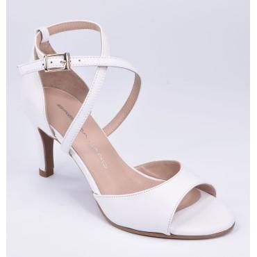 Sandales Coque Cuir Lisse Blanc, T3968, Brenda Zaro