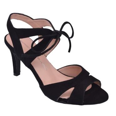 Sandales Lacets Cuir suédine Noir, F2631, Brenda Zaro