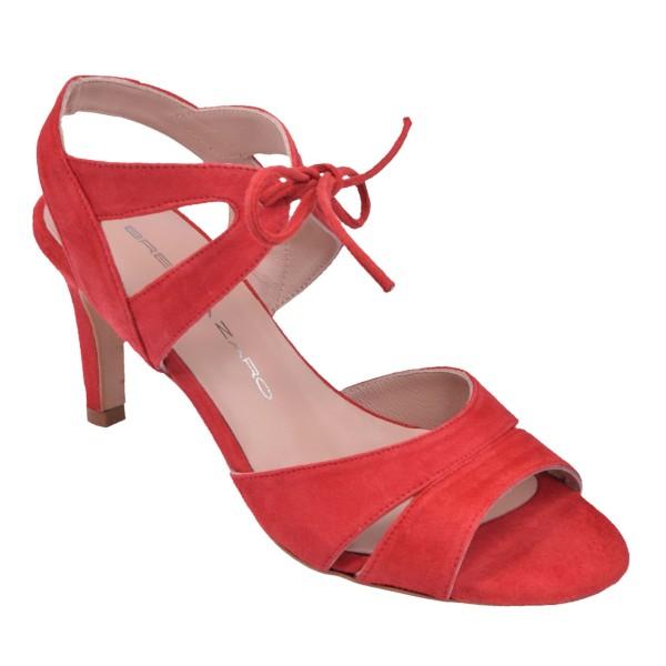 Sandales Lacets Cuir suédine Rouge, F2631, Brenda Zaro