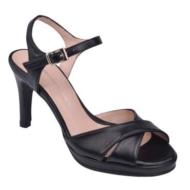 Sandales Cuir Lisse Noir, F3230, Brenda Zaro