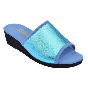 Chaussons, Cuir Fantaisie, Yoyo, Bleu Turquoise, Petits Souliers