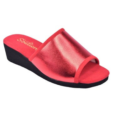 Chaussons, Cuir Fantaisie, Yoyo, Rouge, Petits Souliers