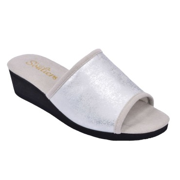Chaussons, Cuir Fantaisie, Yoyo, Argent, Petits Souliers