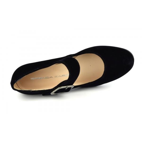 Basket compensées noires, cuir, 10082G, Maria jamy