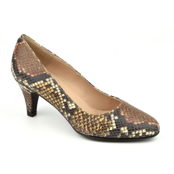 Escarpins, Cuir Style Python, Marron, F96136, Brenda Zaro