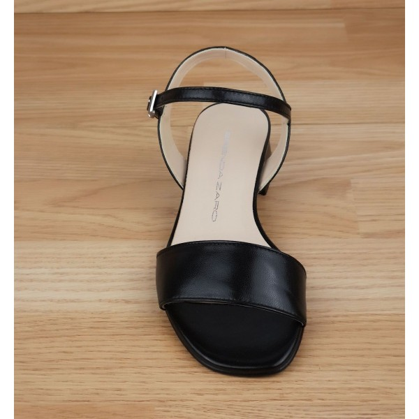 Sandales à plateau, petites pointures, cuir daim noir, 3930, Plumers