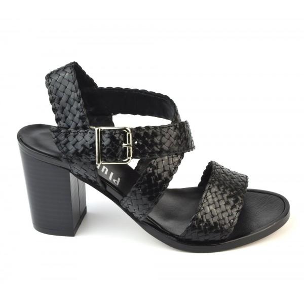 Sandales Cuir Tressé Noir, 3204, Plumers