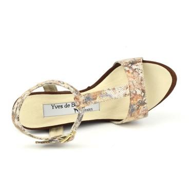 Sandales à plateau, petites pointures, cuir effet brillant, argent, 3159, Plumers