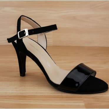 Sandales Cuir Verni Noir, T3556A, Brenda Zaro