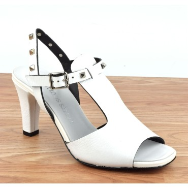 Sandales Cuir Craquelé Blanc 3105 Plumers