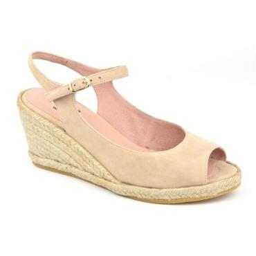 Sandales Compensées, Cuir Suédine Beige, XA0230J, Xaira