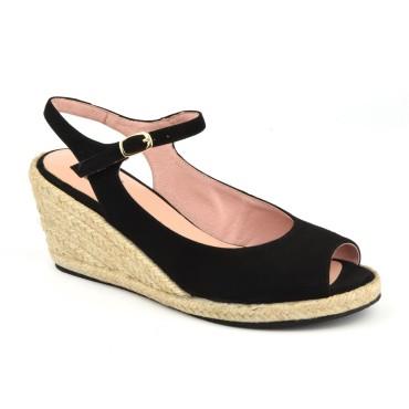 Sandales Compensées, Cuir Suédine Noir, XA0230J, Xaira