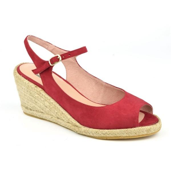 Sandales Compensées, Cuir Suédine Rouge, XA0230J, Xaira