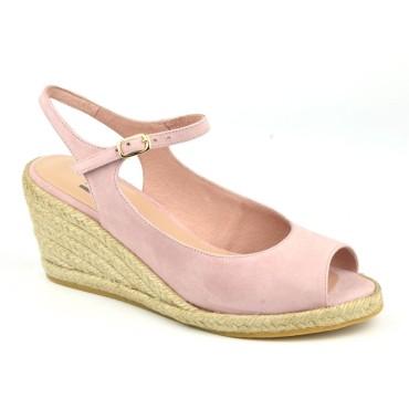 Sandales Compensées, Cuir Suédine Rose, XA0230J, Xaira