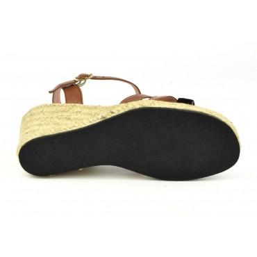 Sandales à plateau, petites pointures, cuir daim nude rosé, cuir or et blonze, 3160, Plumers