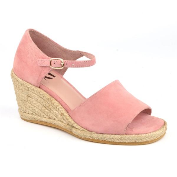 Sandales Compensées, Cuir Suédine Rose, XA0287J, Xaira