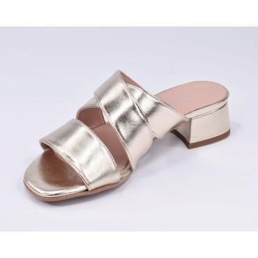 Sandales de soirée résille et cuir lisse blanc, F2632A, Brenda Zaro