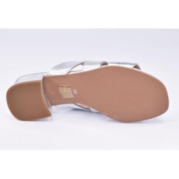 Sandales de soirée cuir pailleté bleu marine et argent pailleté, F1427D, Brenda Zaro