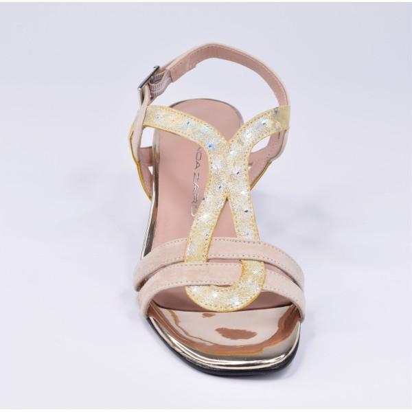 Sandales habillées, cuir daim camel et pailleté or, F2674, Brenda Zaro