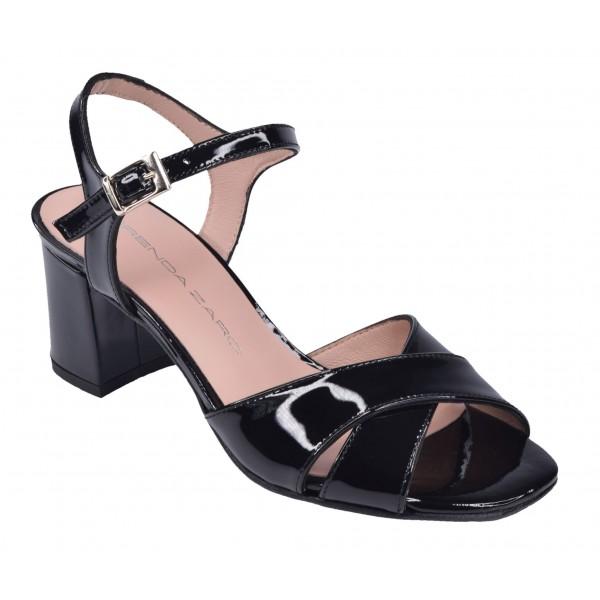 Sandales Cuir Verni Noir, F3241, Brenda Zaro