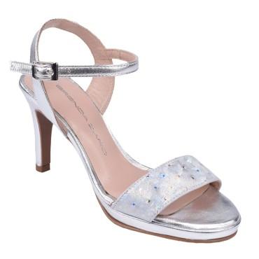 Sandales Habillées, Cuir Argent, F2674, Brenda Zaro