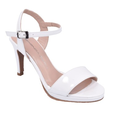 Sandales Habillées, Cuir Verni Blanc, F2674, Brenda Zaro