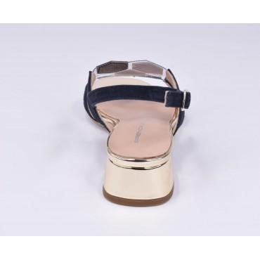 Basket compensées femme, cuir pailleté or et daim nude 10627, Maria jamy