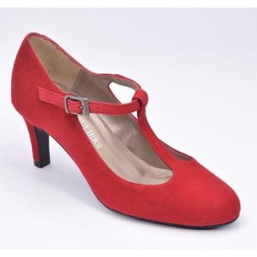 Escarpins Daim, Brenda Zaro, talon 6,5 cm, rouge, bouts ronds, F1129