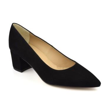 Chaussure, escarpins trotteur, femme petite pointure, Thiry, Gennia, noir, vue diagonale