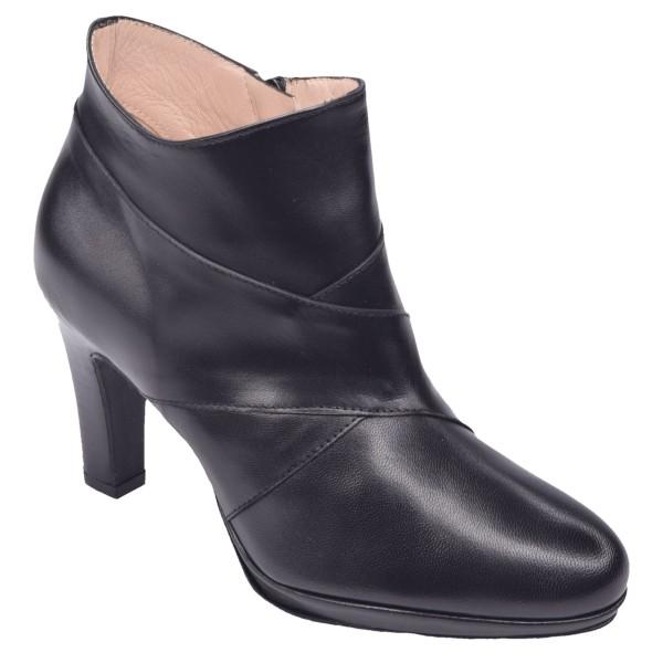 Low Boots Cuir Lisse Noir, F1770, Brenda Zaro