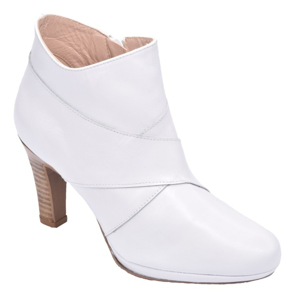 Low Boots Cuir Lisse Blanc, F1770, Brenda Zaro