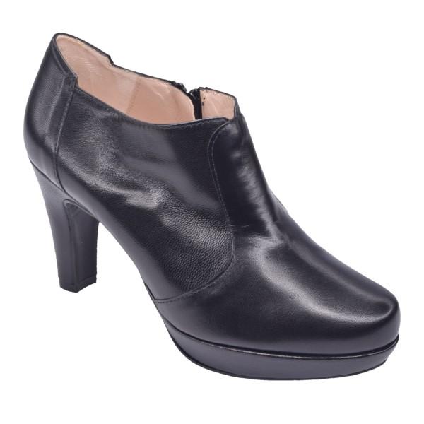 Low Boots Cuir Lisse Noir, F97509, Brenda Zaro