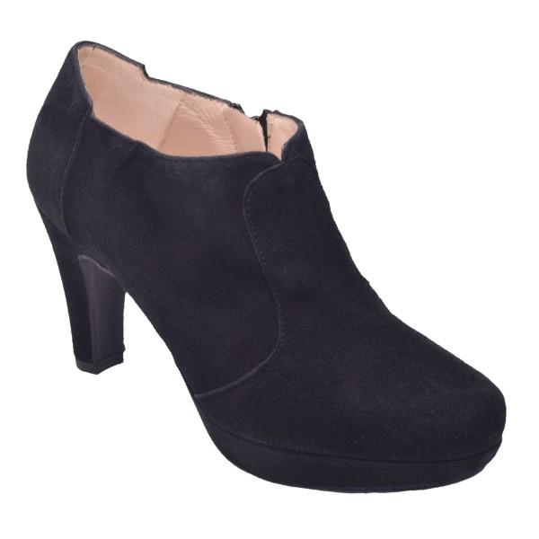 Low Boots Cuir Suédine Noir, F97509, Brenda Zaro