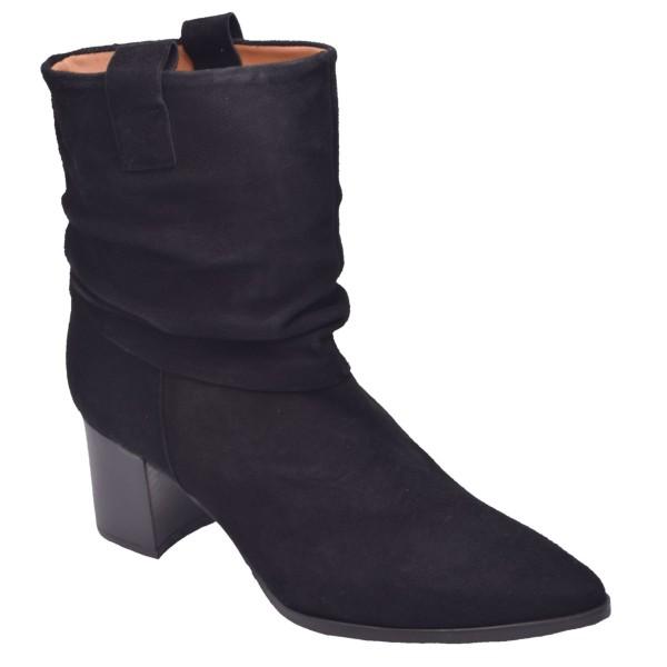 Chaussure, bottines, femme petite pointure, daim, noir, T3864, Brenda Zaro, vue diagonale