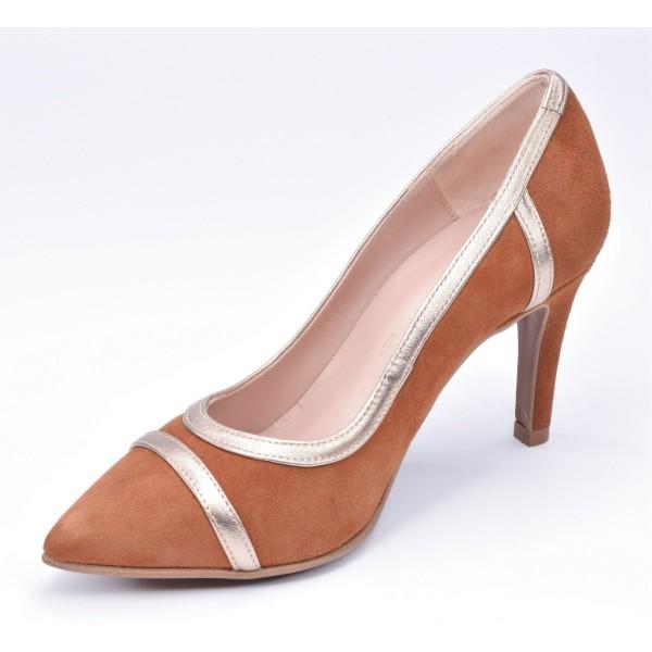 Sandales habillées, cuir daim pailleté rouge, F2674, Brenda Zaro