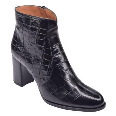 Escarpins cuir, style python marron, Brenda Zaro, talon 6.5, F96136