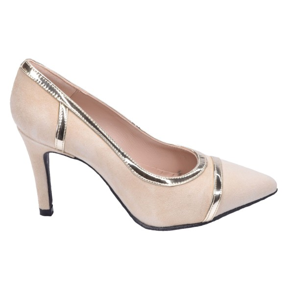 chaussure, escarpins, femme petites pointures, daim, beige