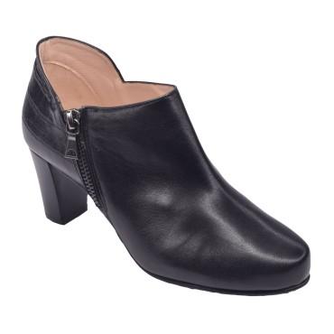 Low Boots Cuir Lisse Noir, F1764, Brenda Zaro